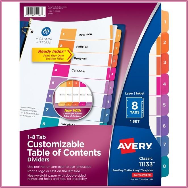 Avery 8 Tab Template 11133