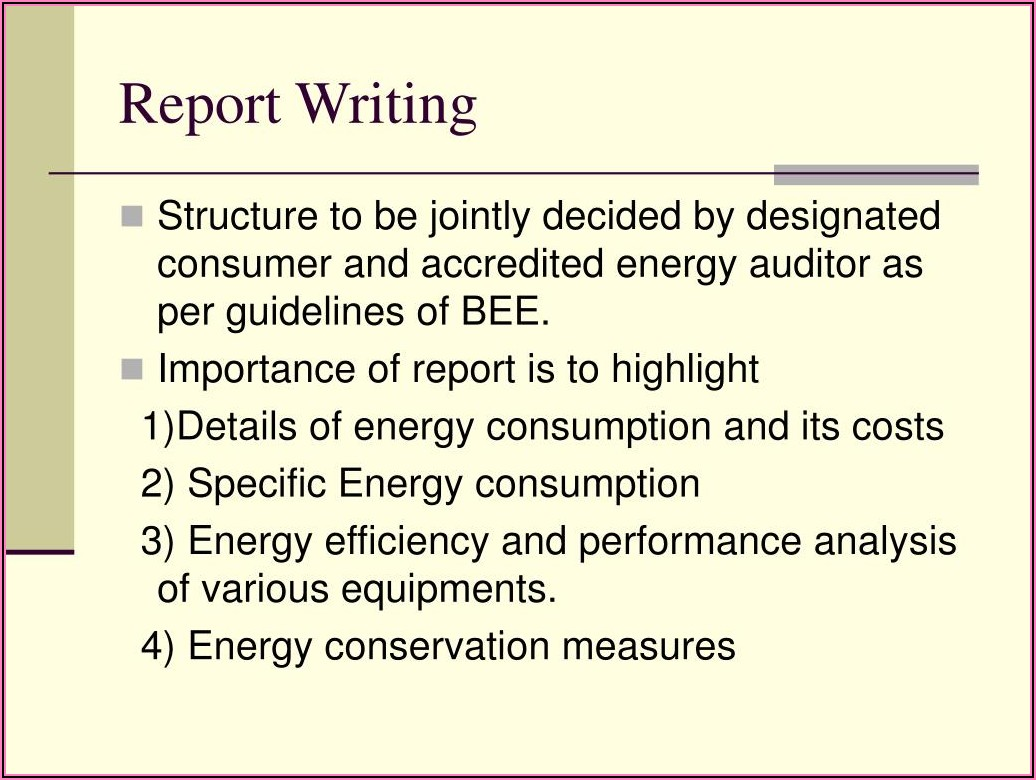 Bee Energy Audit Report Format