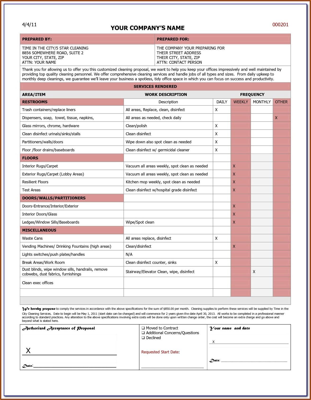 Bid Proposal Form Pdf