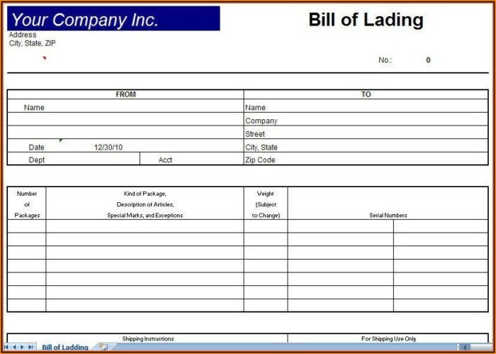 Bill Of Lading Template Download