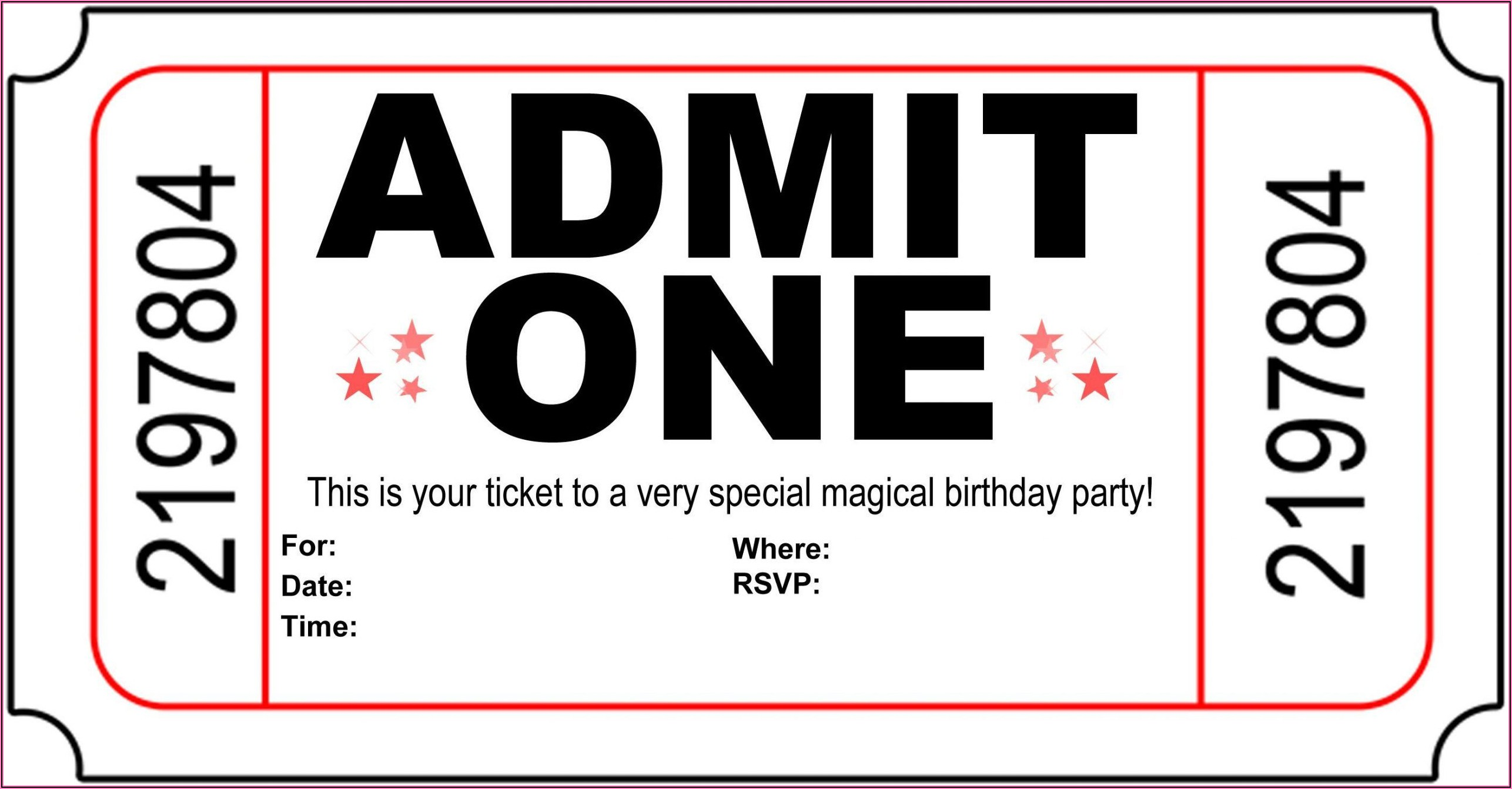 Birthday Party Ticket Invitation Template Free