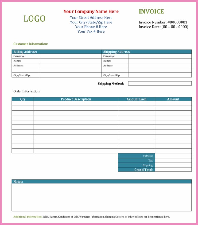 Blank Invoice Template Excel Pdf