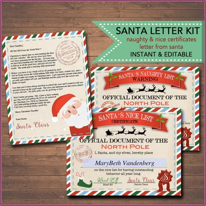 Christmas Eve Letter From Santa Template