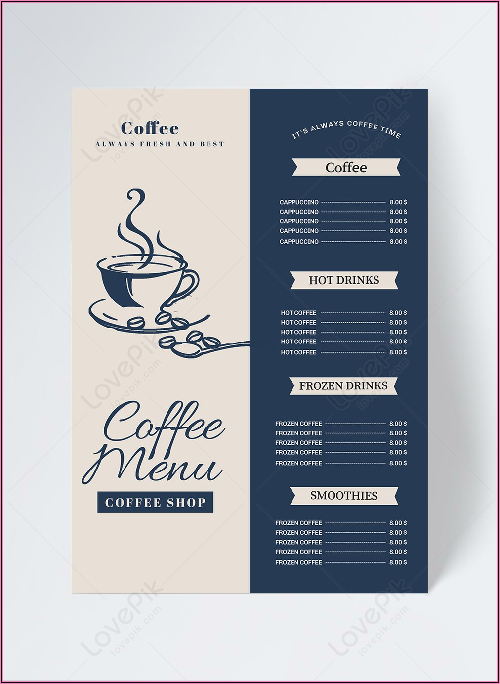 Coffee Menu Template Free Download
