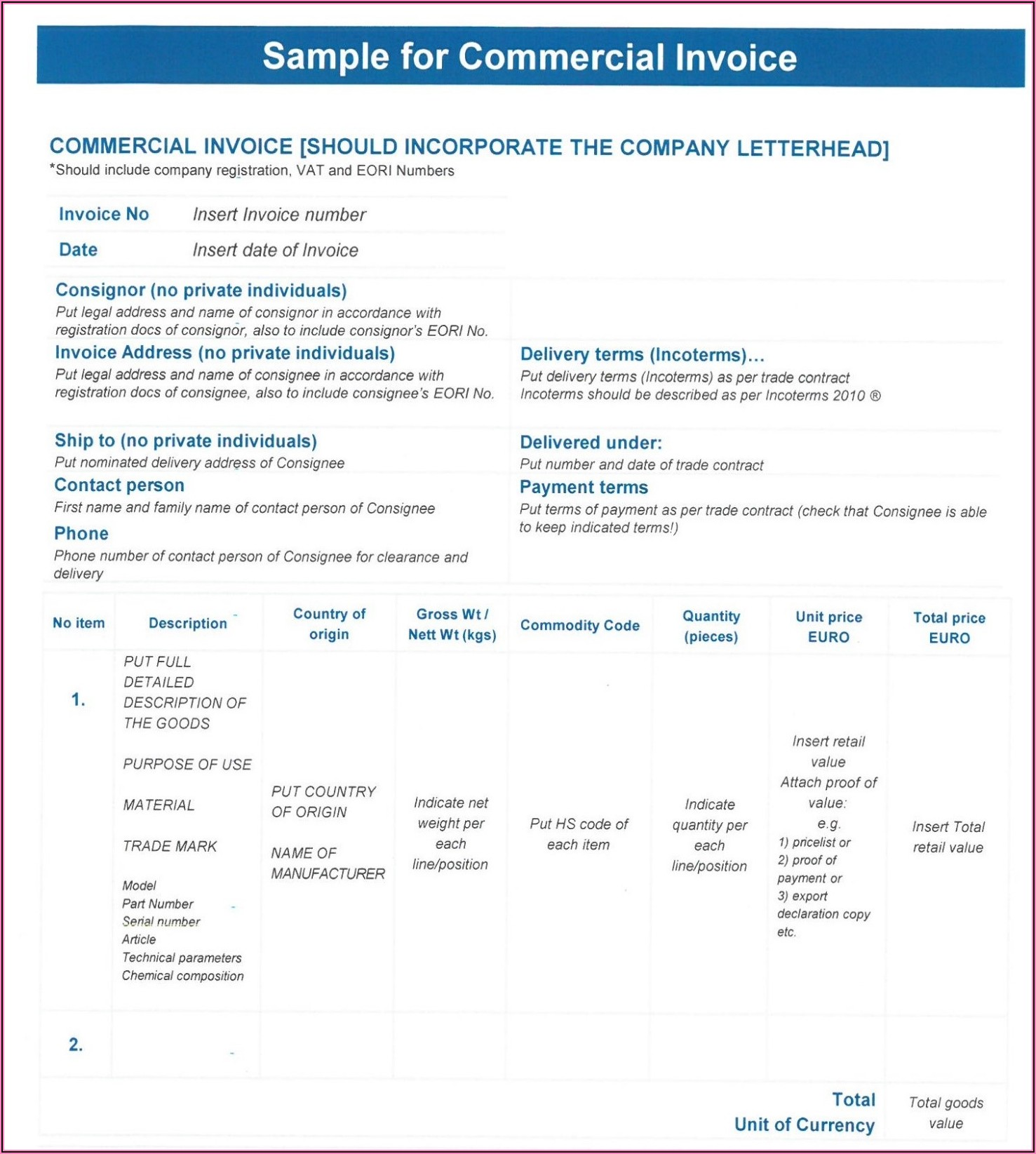 Commercial Invoice Template Uk Brexit