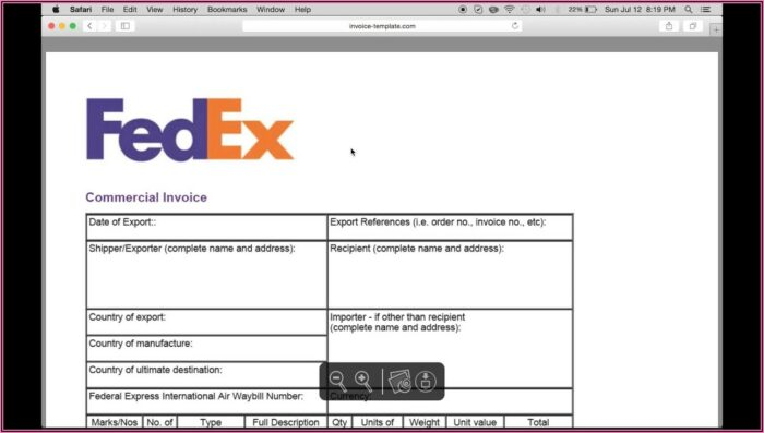 Commercial Invoice Template Uk Fedex