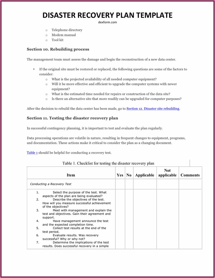 Disaster Recovery Test Plan Template Doc