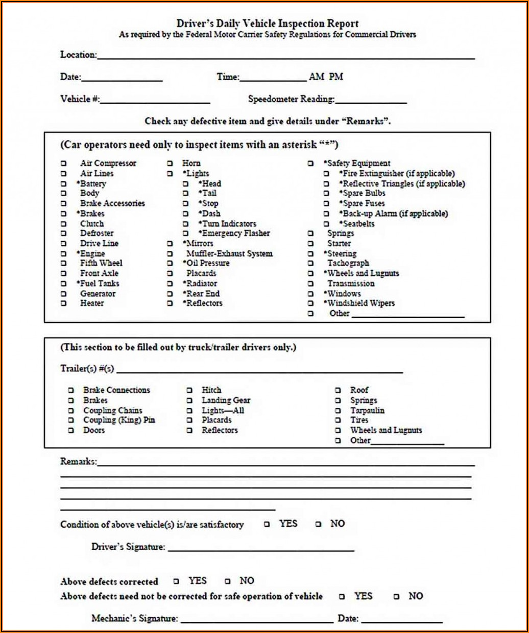 Downloadable Free Printable Driver Vehicle Inspection Report Form