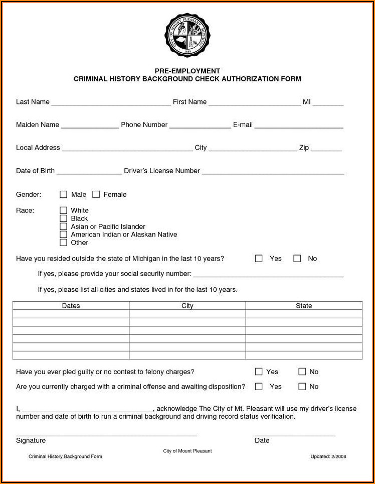 Employment Background Check Form Template