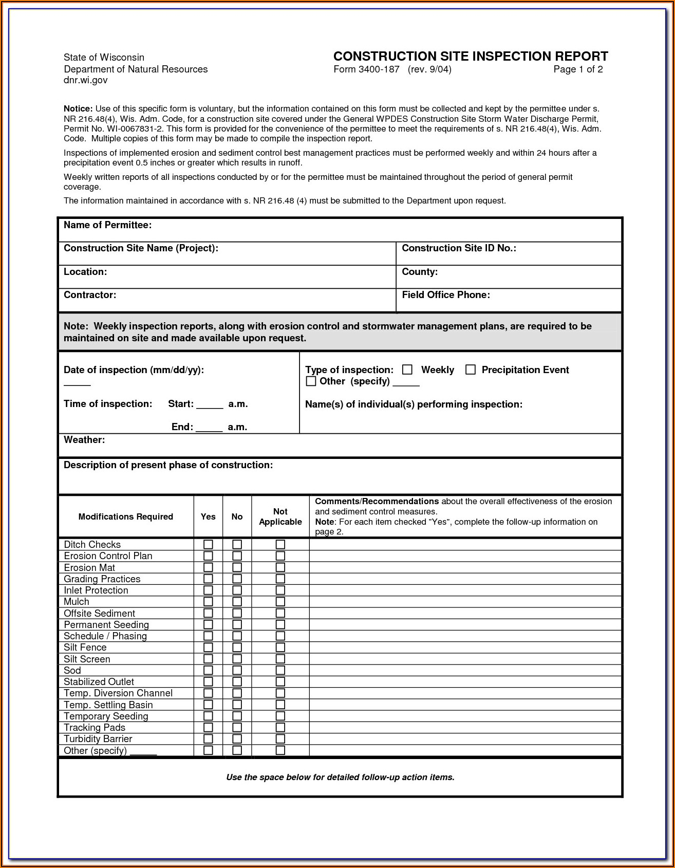 Epa Swppp Inspection Report Form