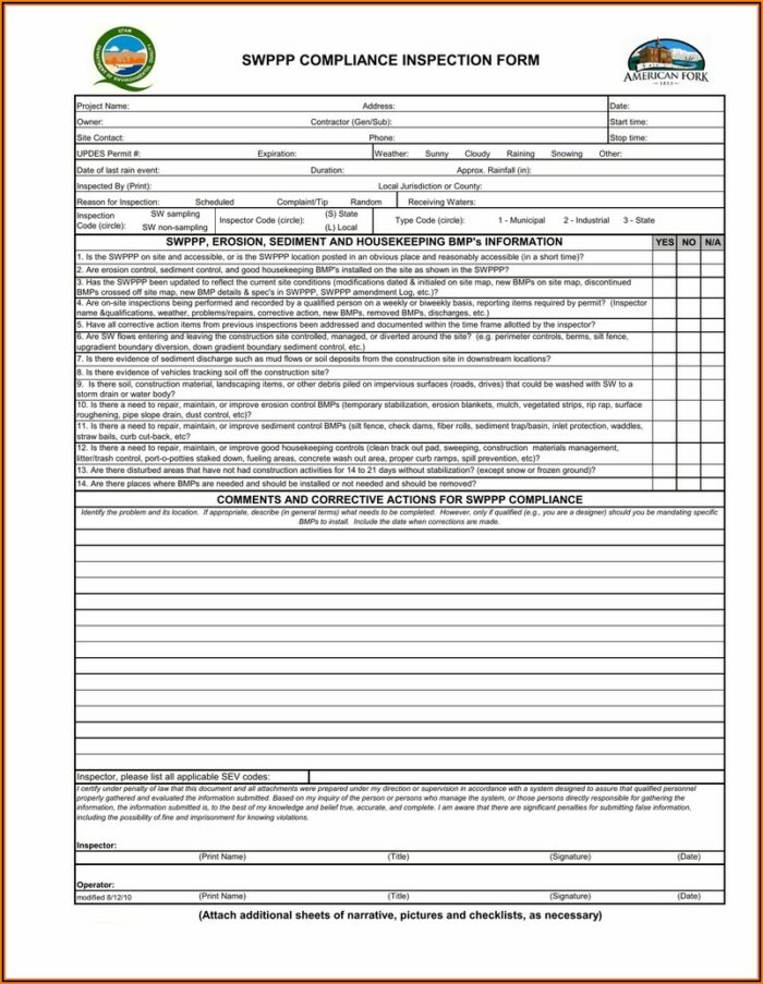 Epa Swppp Inspection Template