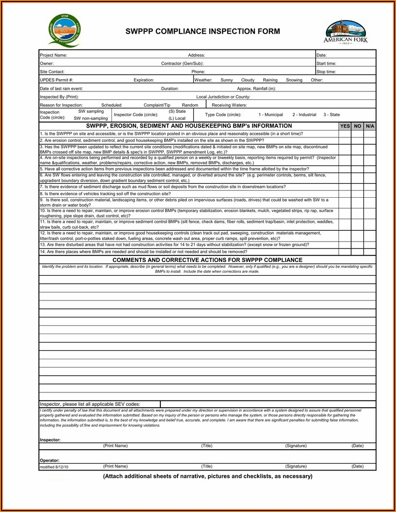 Epa Swppp Inspection Template