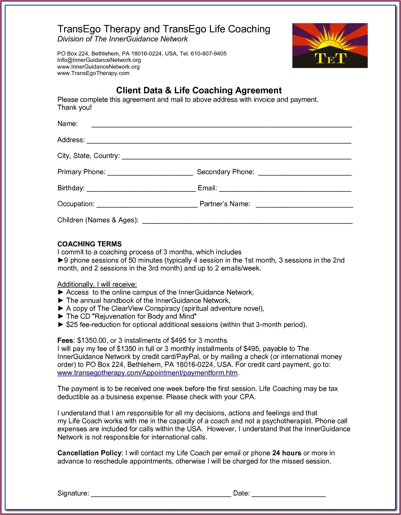 Executive Coaching Forms