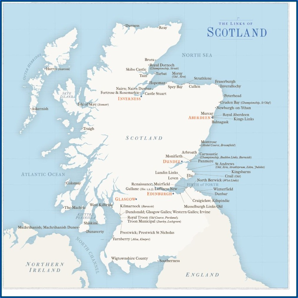 Famous Golf Courses In Scotland Map