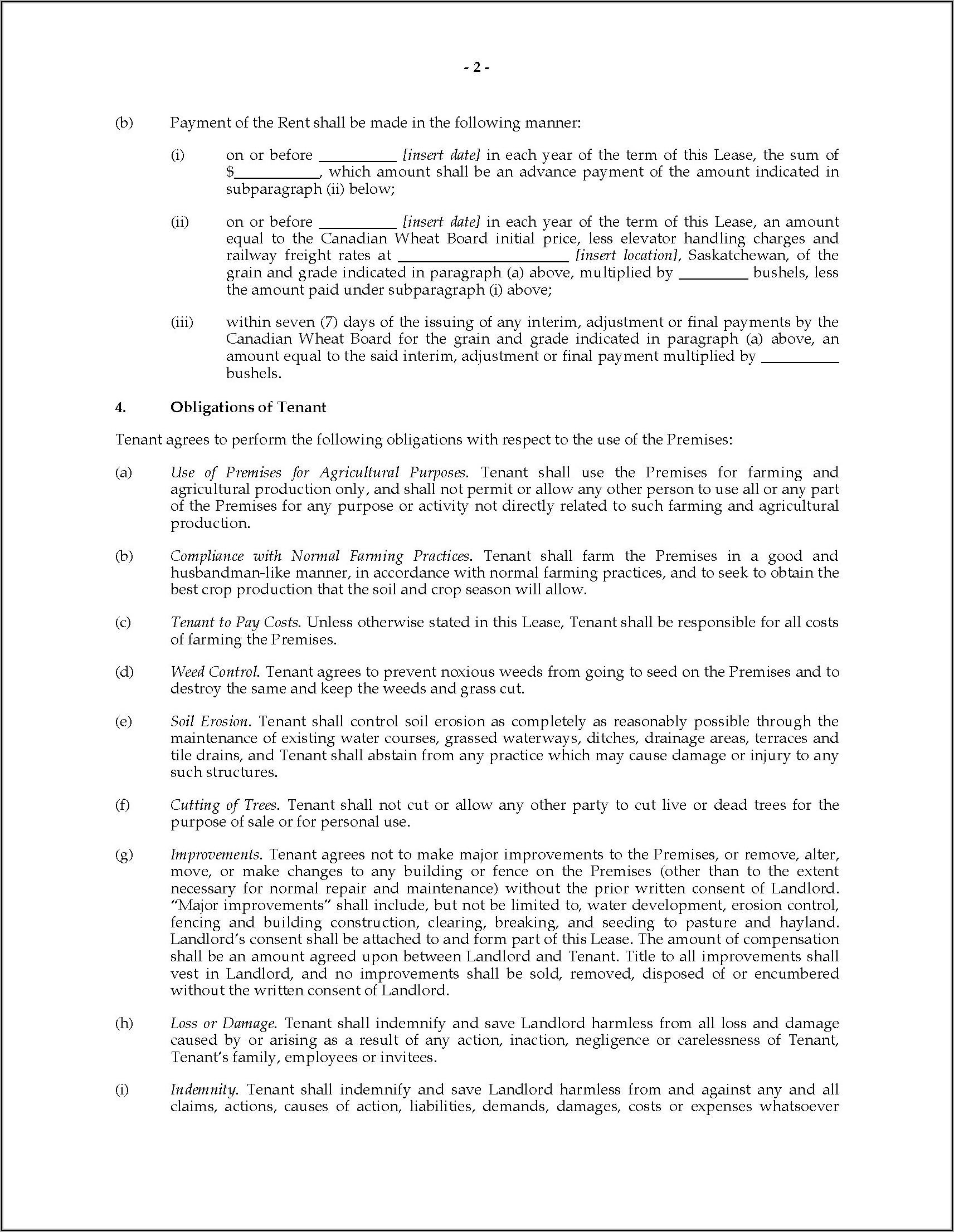 Farm Lease Agreement Template Western Australia