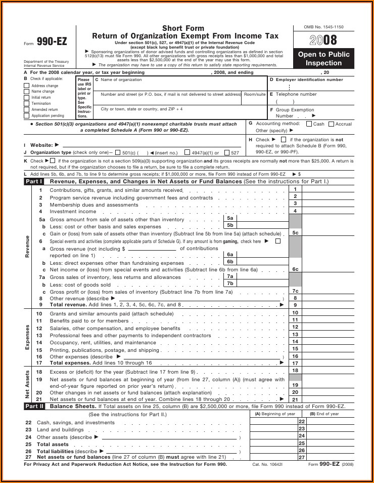 Federal Tax Form 990 Ez Instructions