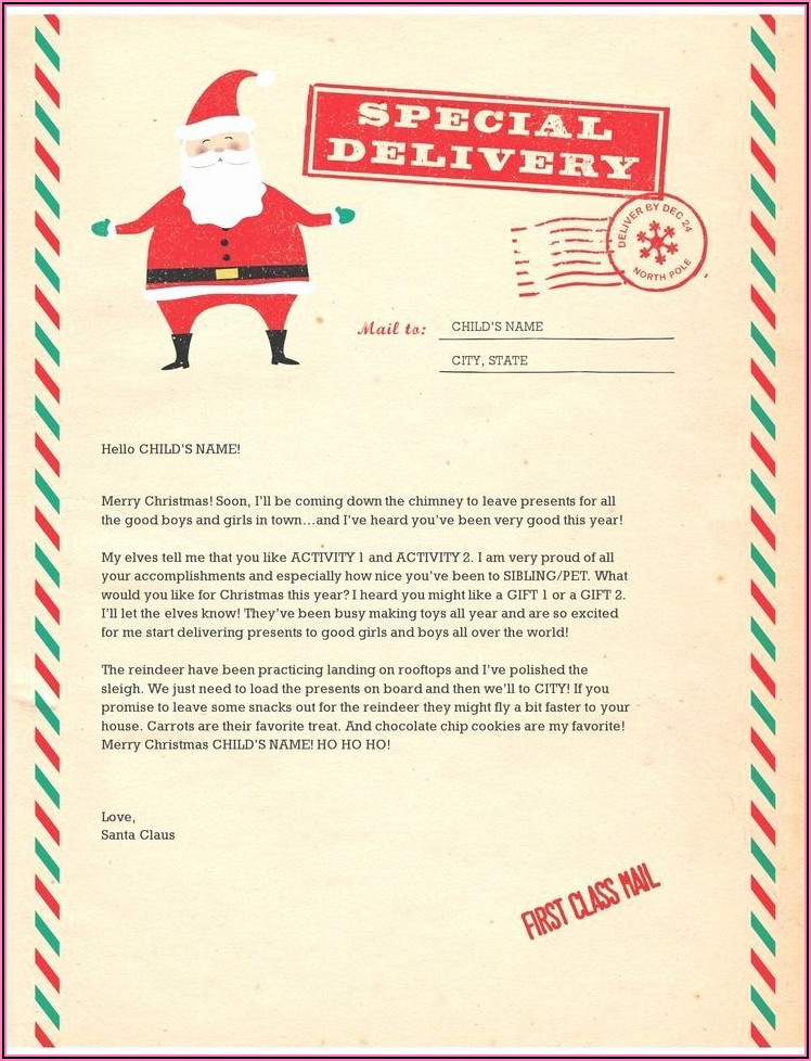 First Christmas Letter From Santa Template
