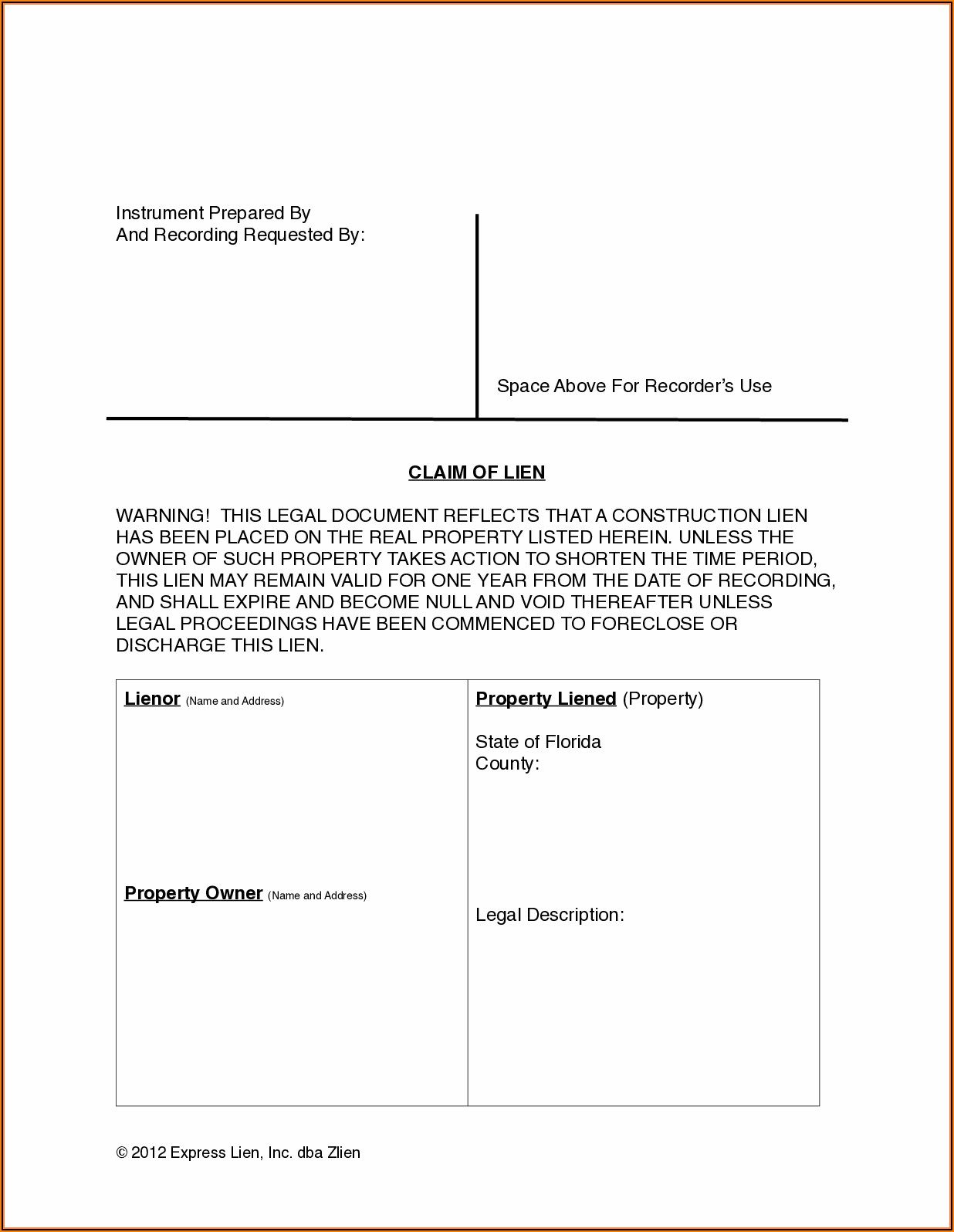Florida Mechanics Lien Forms