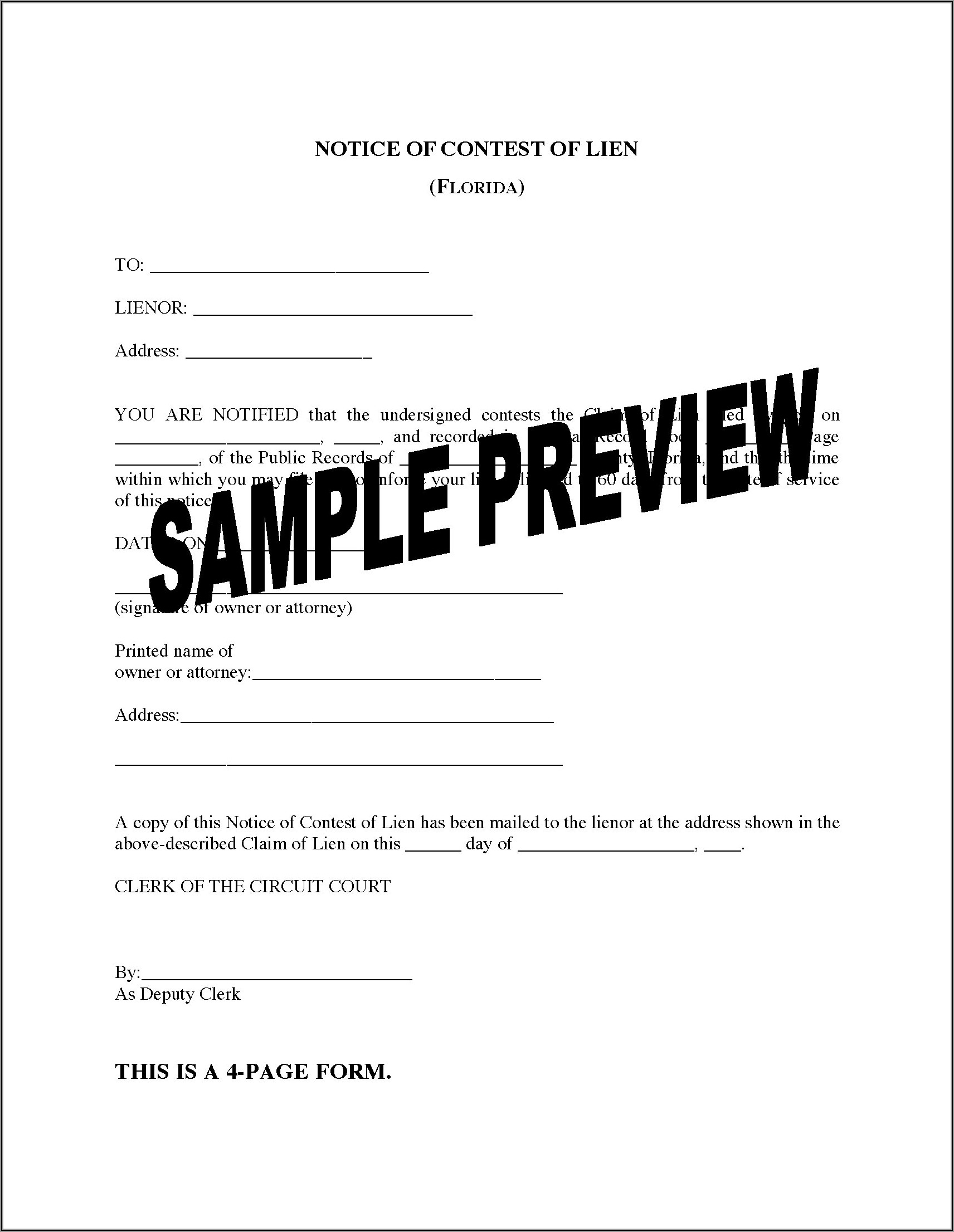 Florida Property Lien Forms