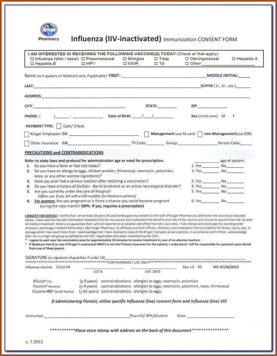 Flu Shot Verification Form 2018
