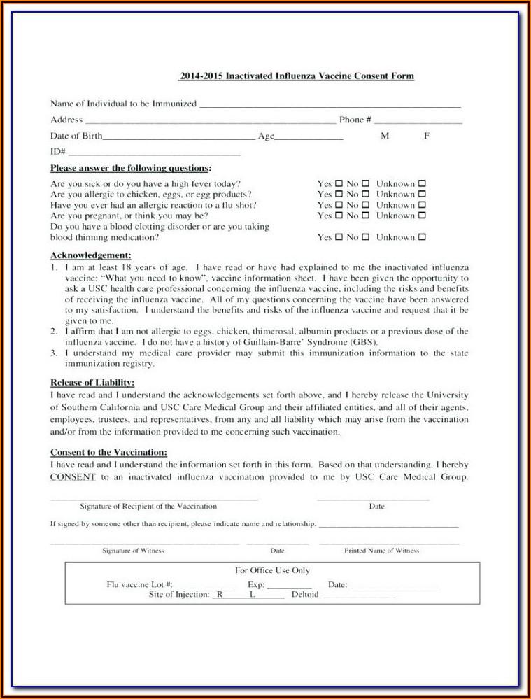 Flu Shot Verification Form