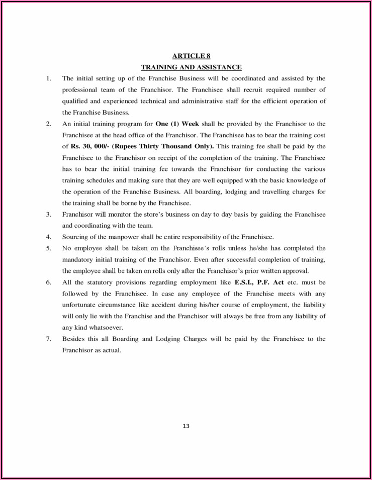 Franchise Agreement Template Free Download