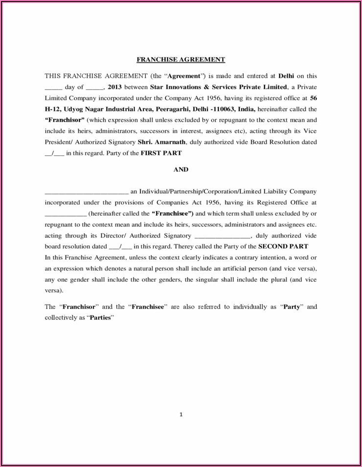 Franchise Agreement Template Free
