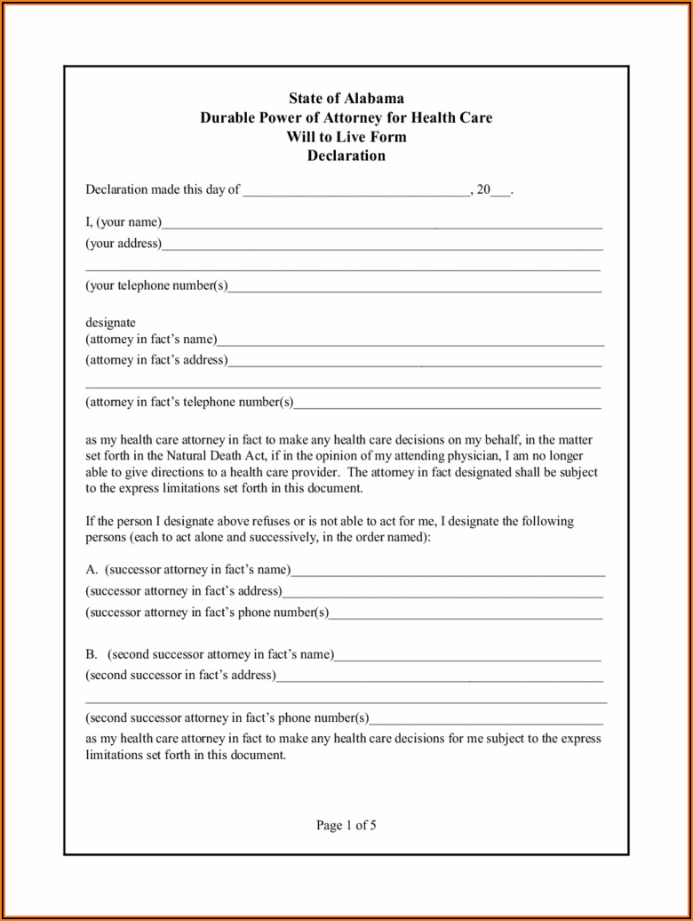 Free Alabama Durable Power Of Attorney Forms