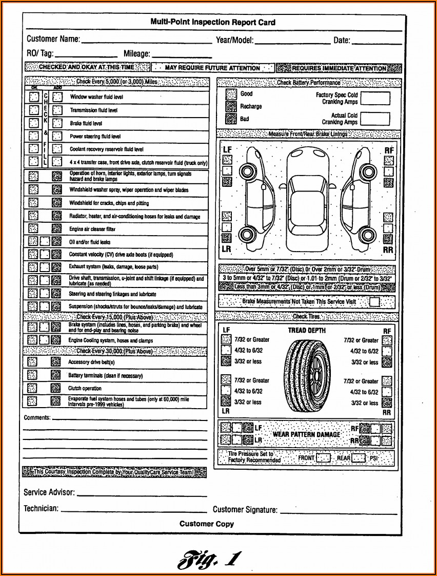 Free Annual Vehicle Inspection Report Form