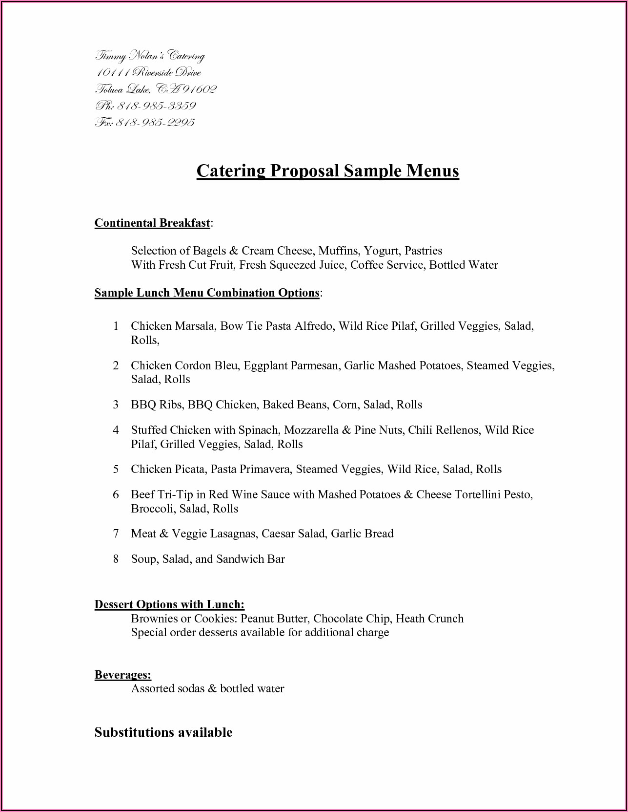 Free Catering Proposal Template Download