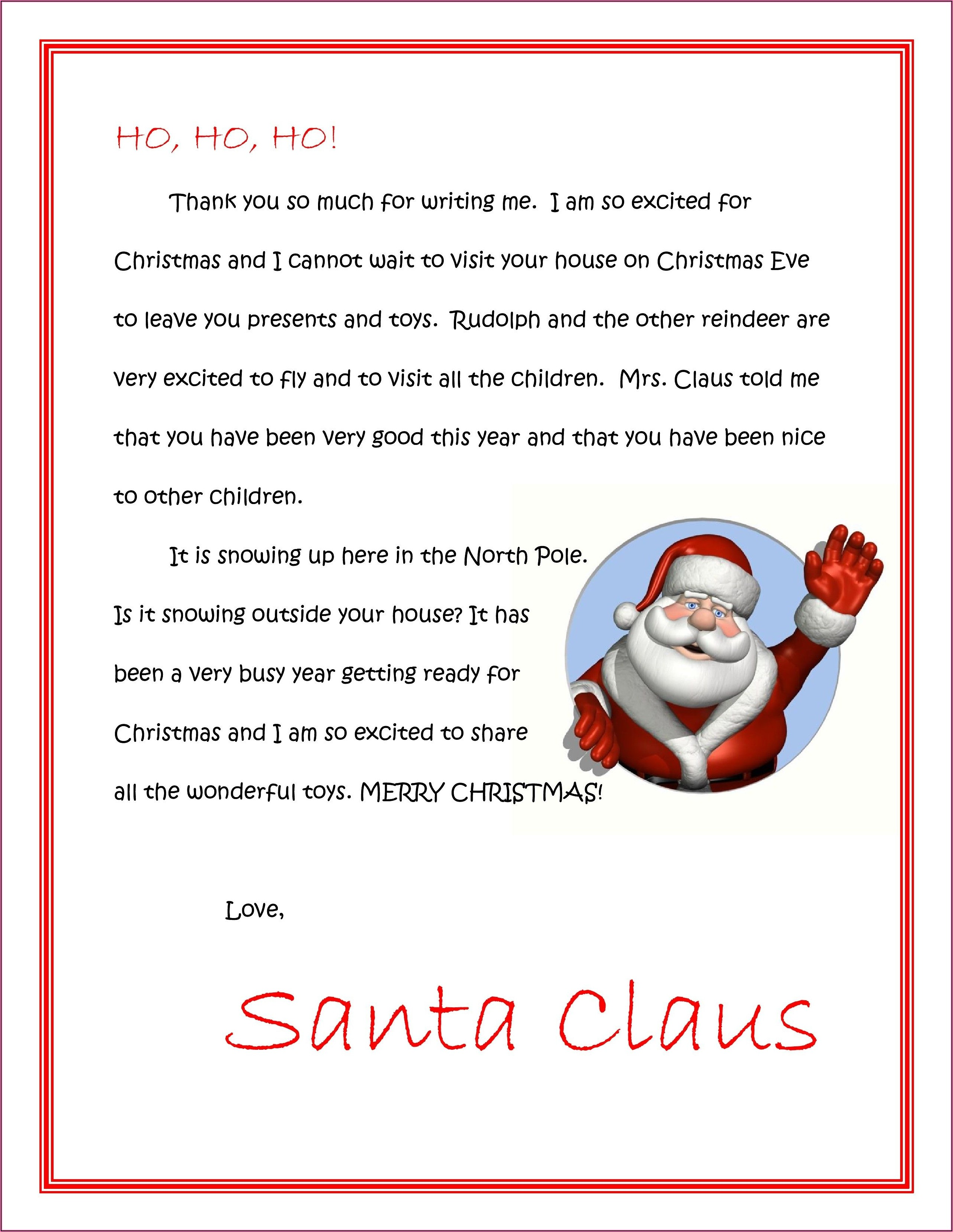 Free Christmas Morning Letter From Santa Template
