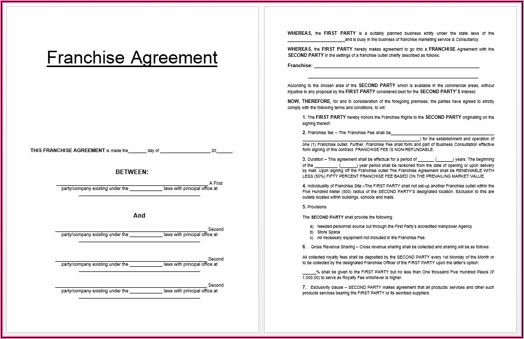 Free Franchise Agreement Template Australia