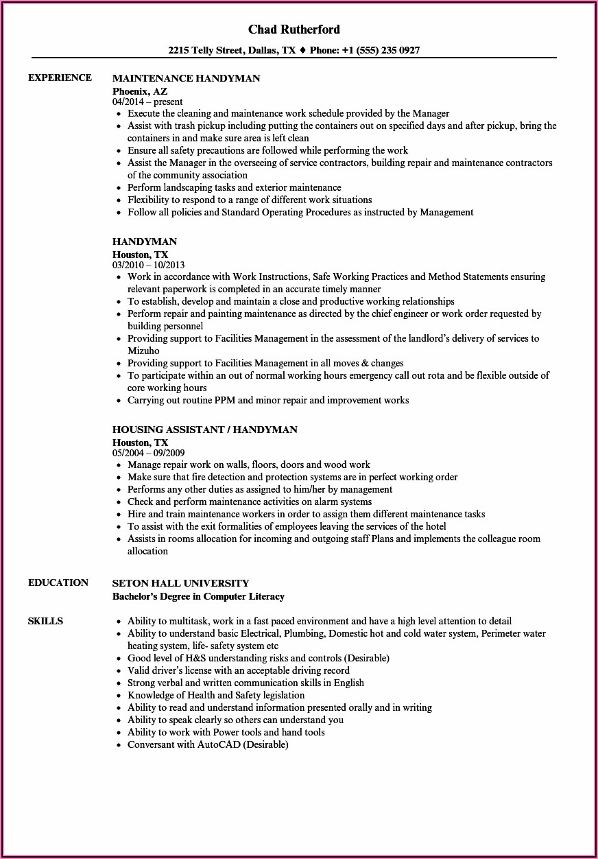 Free Handyman Resume Template