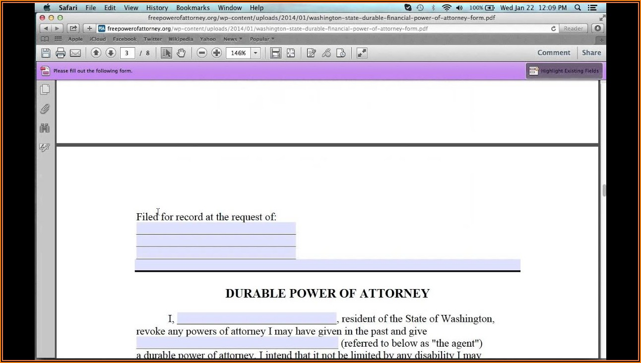 Free Limited Power Of Attorney Form Washington State