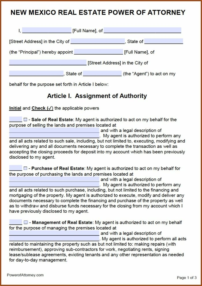 Free Printable Medical Power Of Attorney Form New Mexico