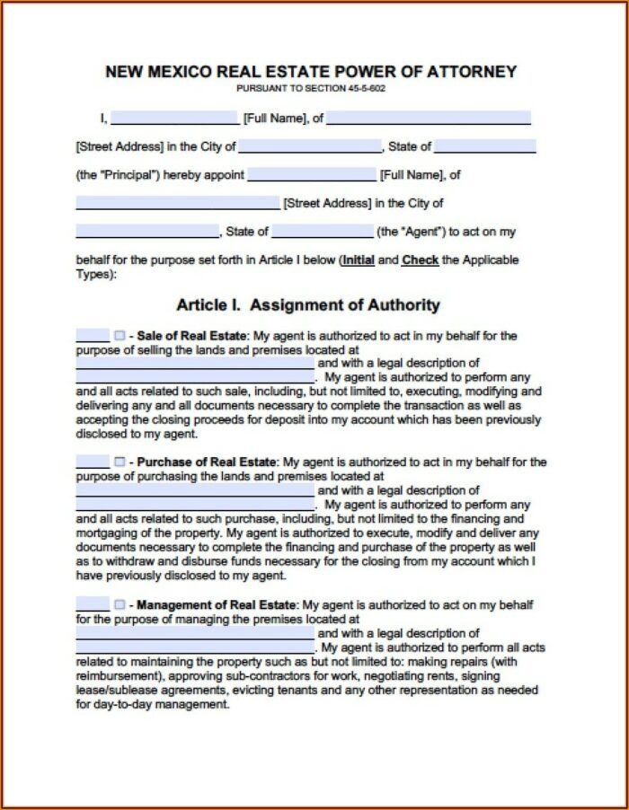 Free Printable Power Of Attorney Form New Mexico