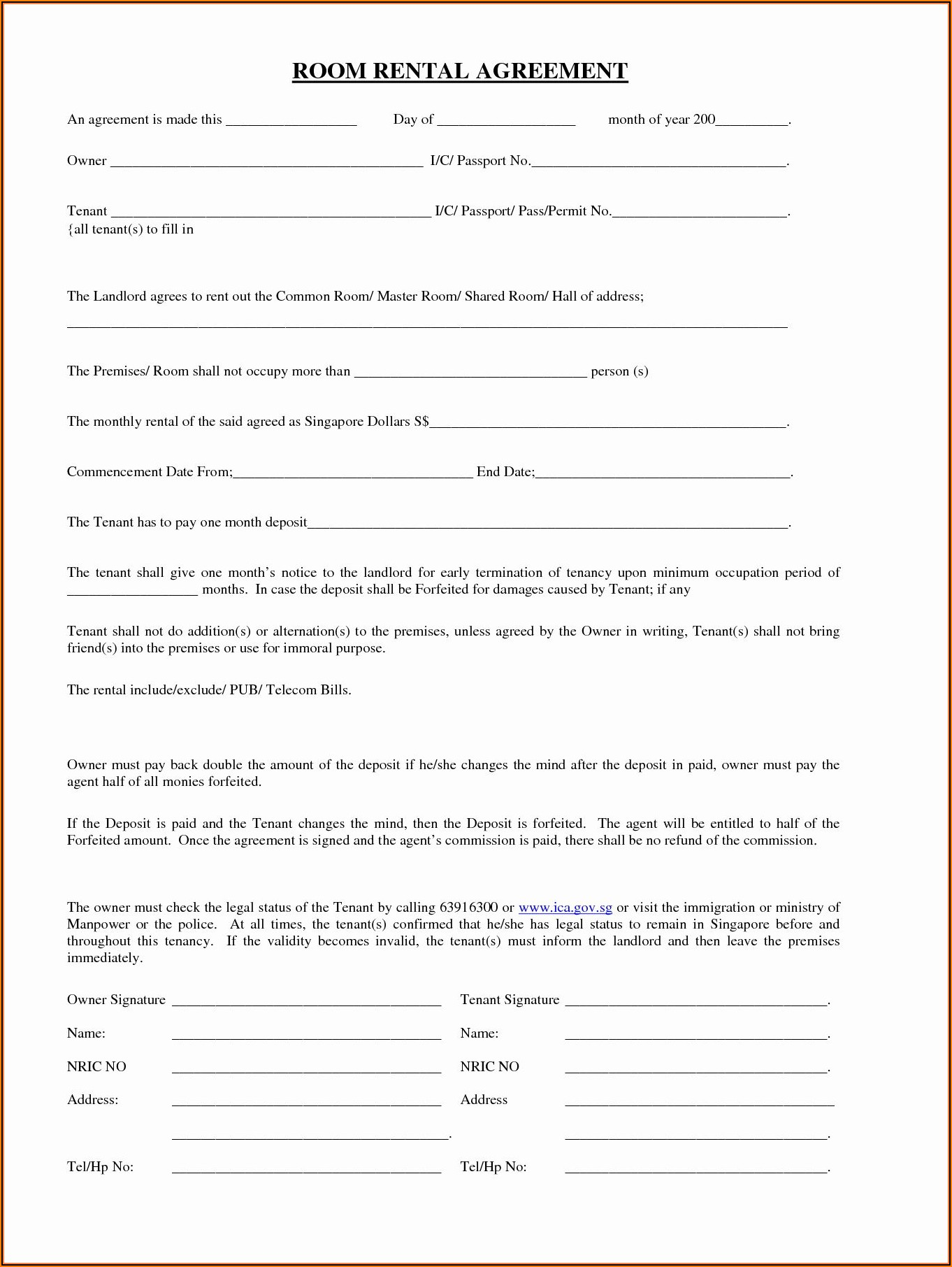 Free Room Rental Agreement Form California