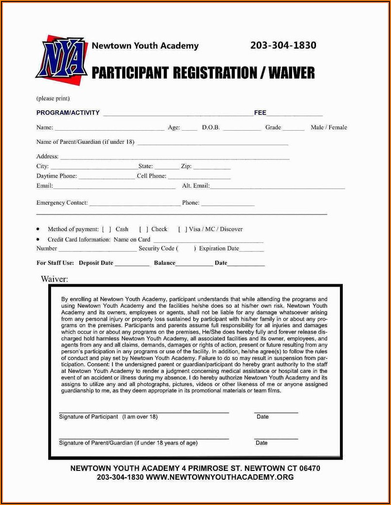 Free Softball Registration Form Template