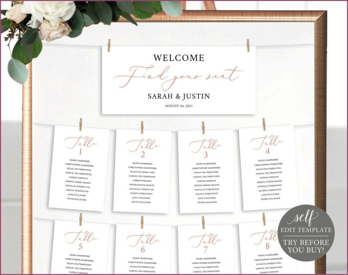 Free Wedding Seating Cards Template