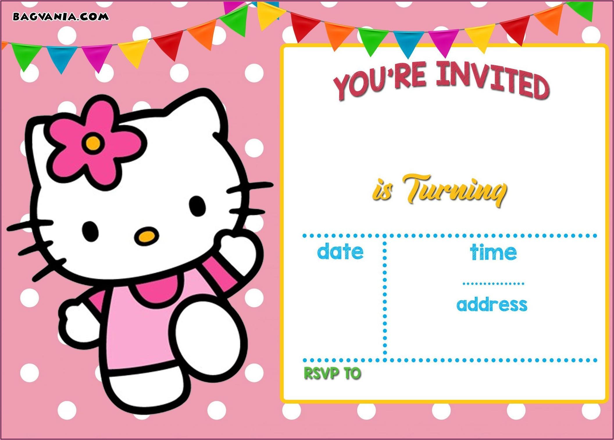Hello Kitty Birthday Invitation Free Template