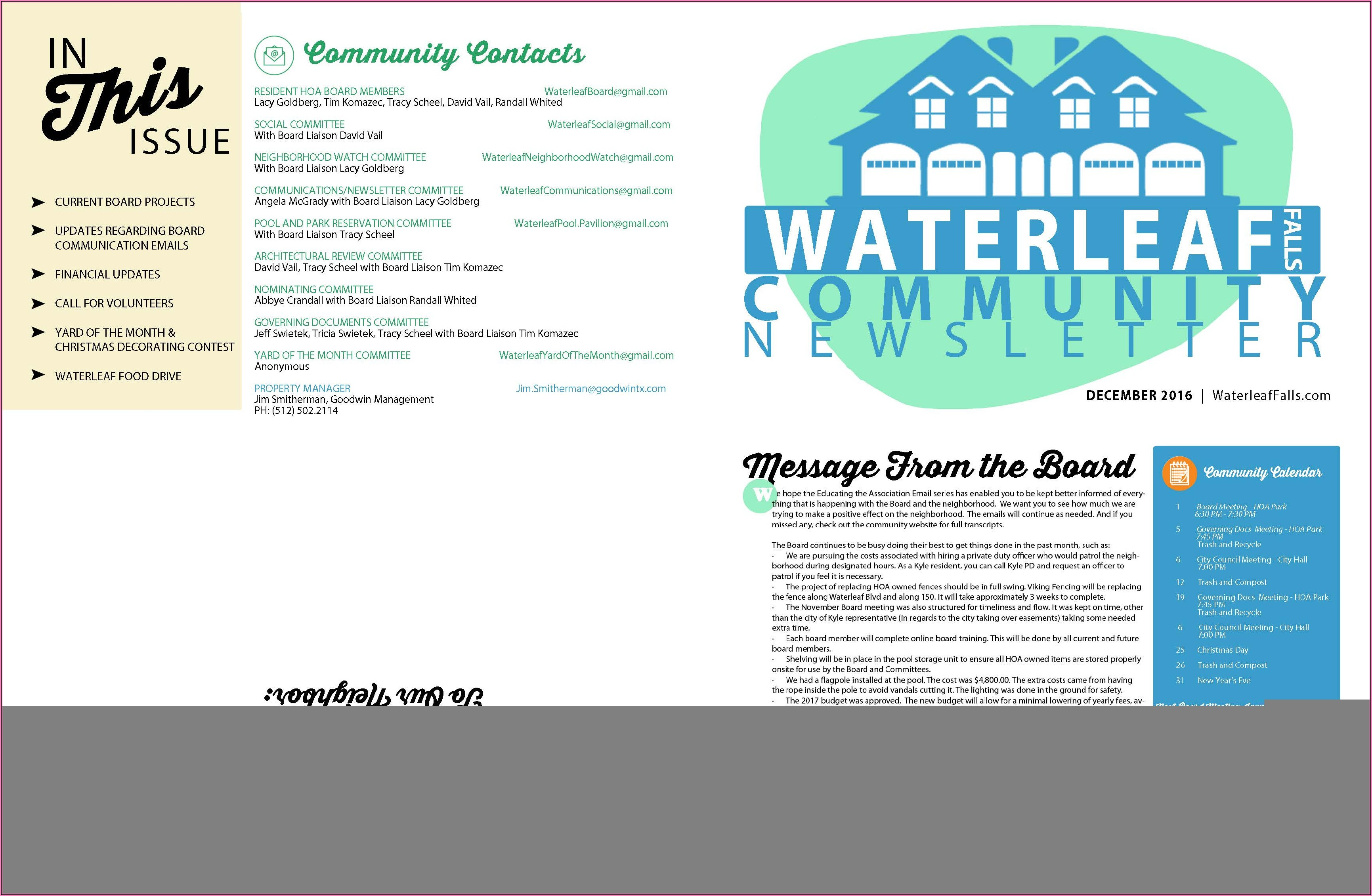 Hoa Newsletter Format