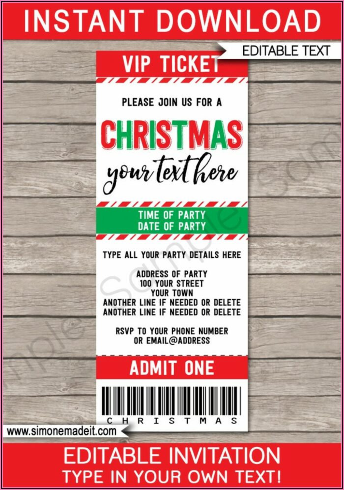 Holiday Party Ticket Template Free