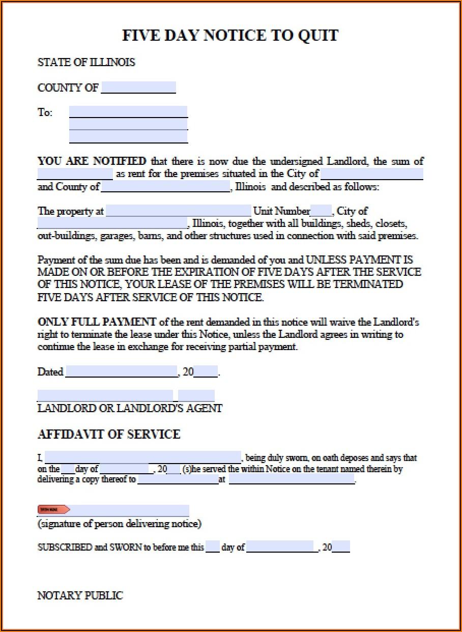 Illinois Landlord Eviction Notice Form