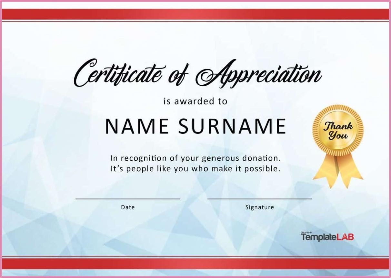 In Appreciation Certificate Templates