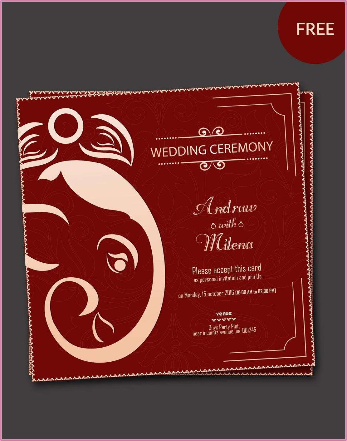 Indian Hindu Wedding Card Templates