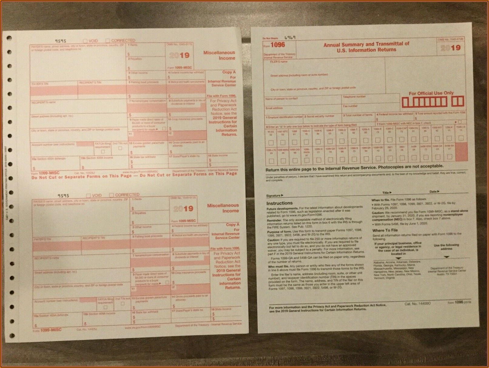 Irs Tax Forms 1099 Misc 2019