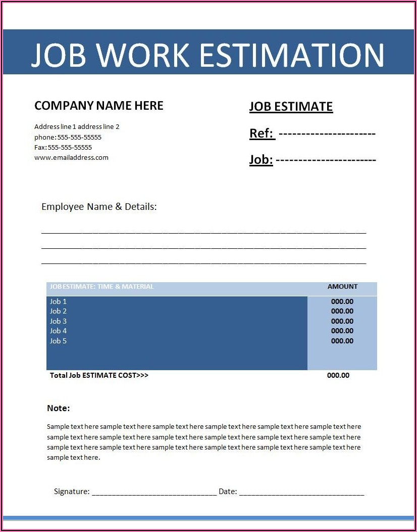 Job Quote Templates Free