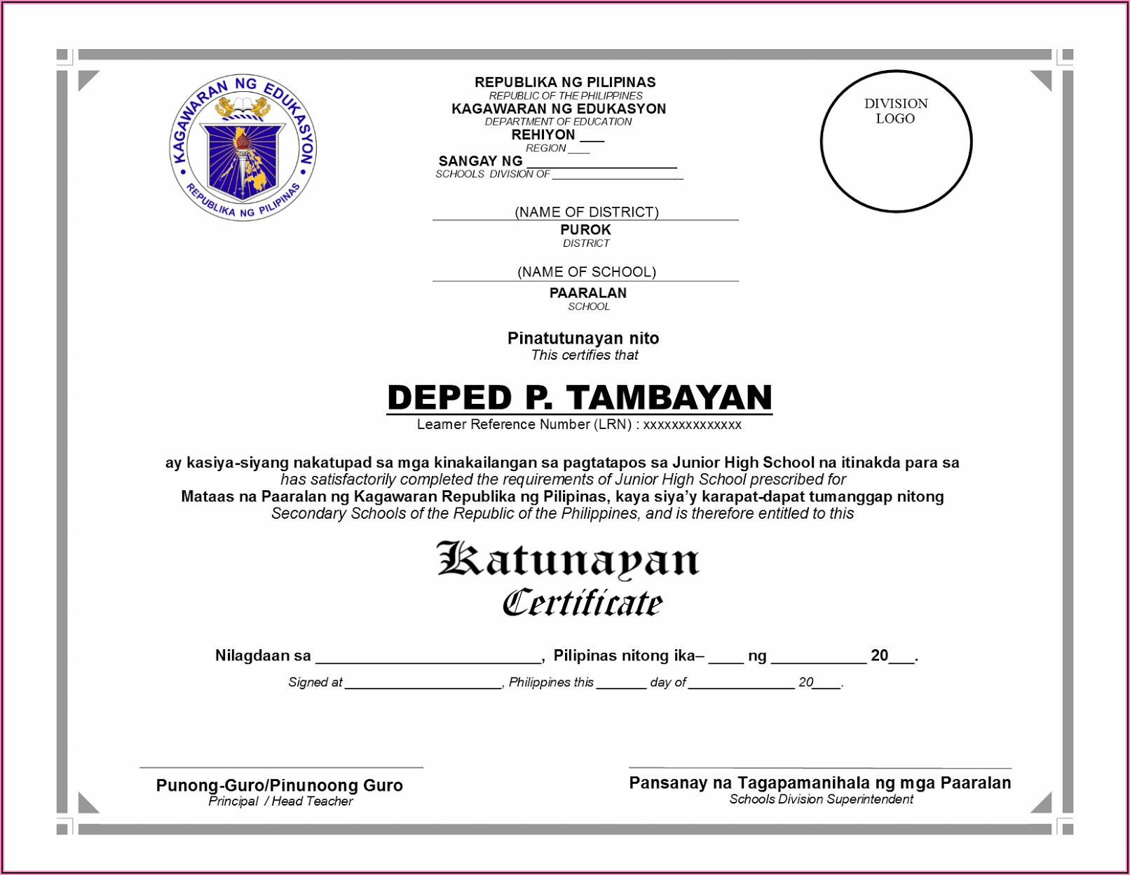 Kindergarten Certificate Template Deped