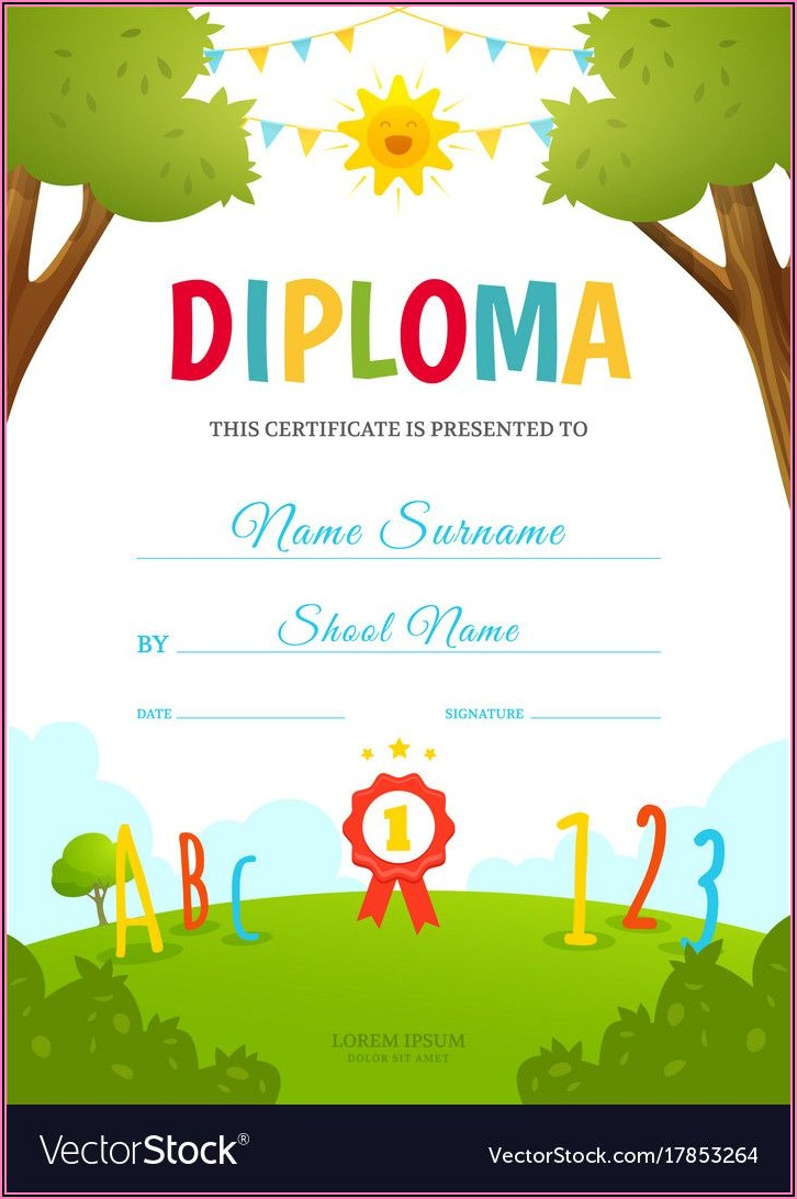 Kindergarten Certificate Template Free Download