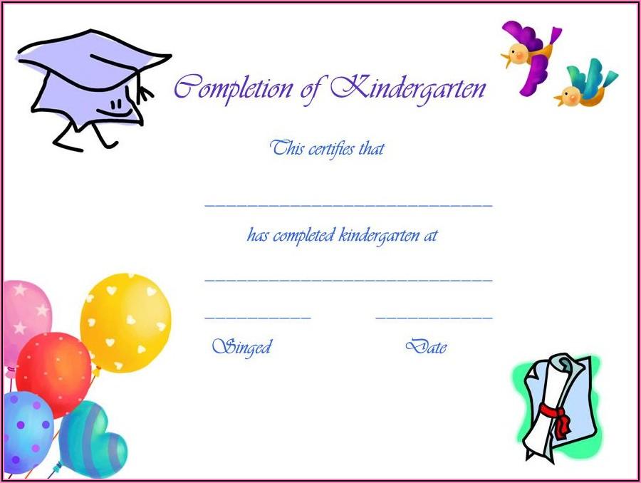 Kindergarten Graduation Certificate Template Free